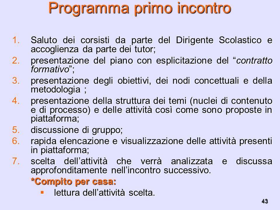 43 Programma primo incontro 1.Saluto dei corsisti da parte del Dirigente Scolastico e accoglienza da parte dei tutor; 2.presentazione del piano con es