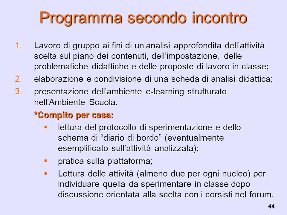 44 Programma secondo incontro 1.Lavoro di gruppo ai fini di unanalisi approfondita dellattività scelta sul piano dei contenuti, dellimpostazione, dell