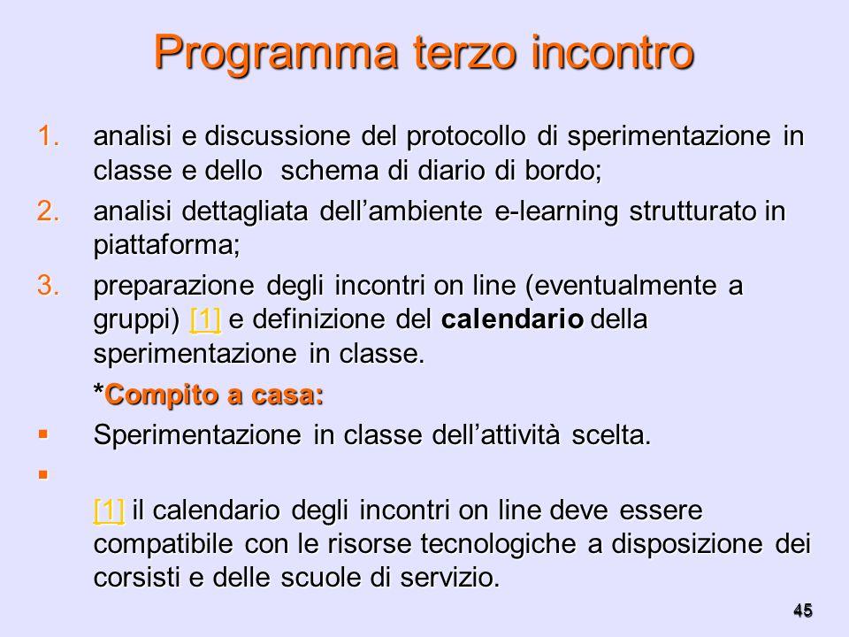 45 Programma terzo incontro 1.analisi e discussione del protocollo di sperimentazione in classe e dello schema di diario di bordo; 2.analisi dettaglia