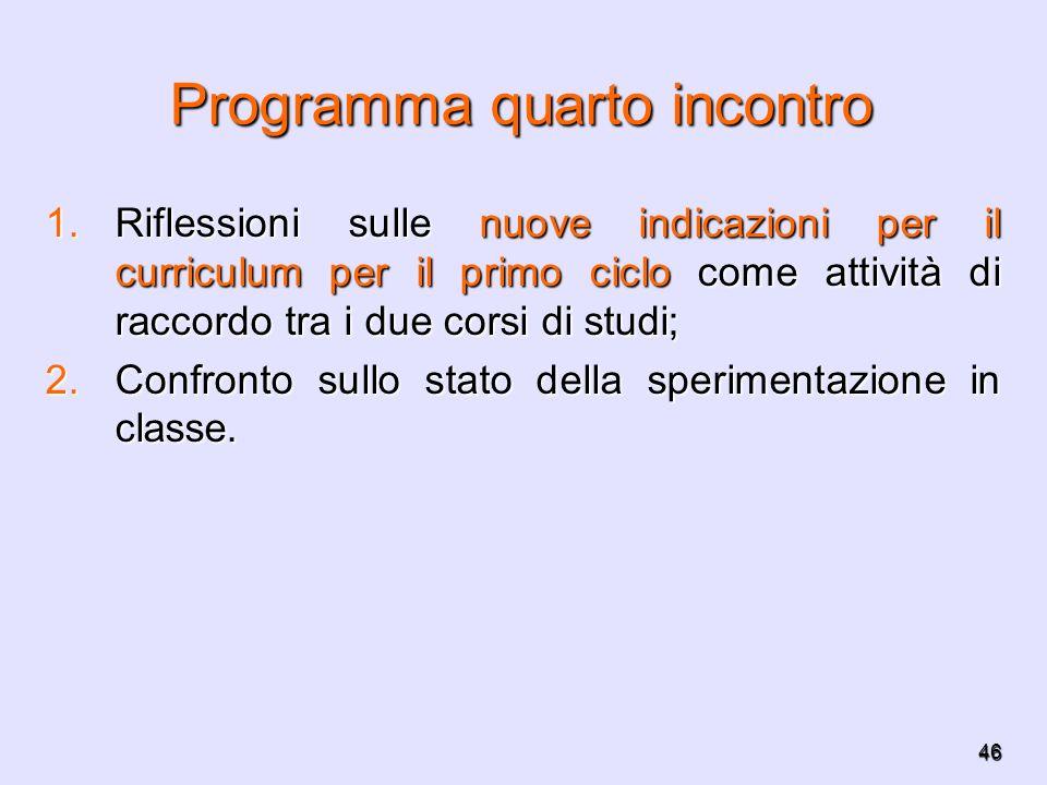 46 Programma quarto incontro 1.Riflessioni sulle nuove indicazioni per il curriculum per il primo ciclo come attività di raccordo tra i due corsi di s