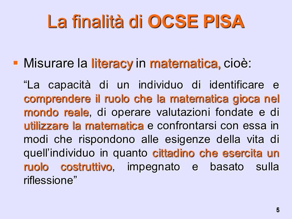 5 La finalità di OCSE PISA Misurare la literacy in matematica, cioè: Misurare la literacy in matematica, cioè: La capacità di un individuo di identifi