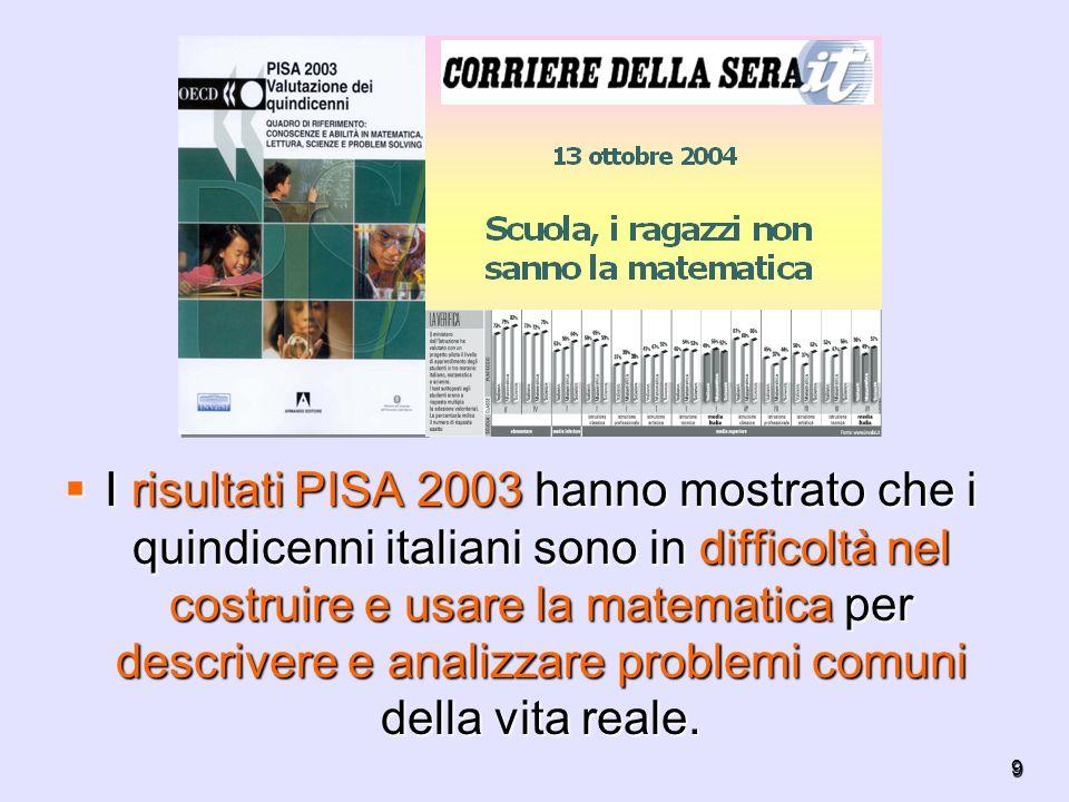 9 I risultati PISA 2003 hanno mostrato che i quindicenni italiani sono in difficoltà nel costruire e usare la matematica per descrivere e analizzare p