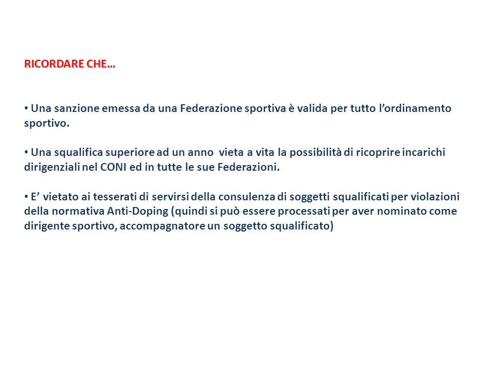 RICORDARE CHE… Una sanzione emessa da una Federazione sportiva è valida per tutto lordinamento sportivo. Una squalifica superiore ad un anno vieta a v