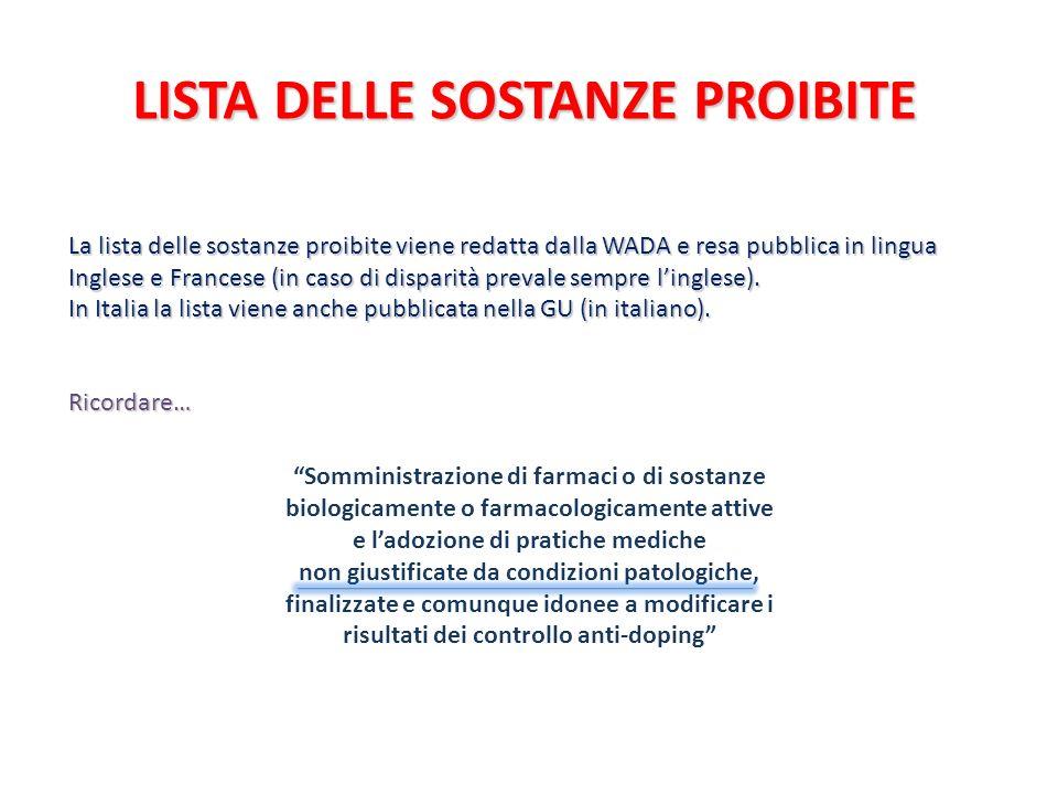 LISTA DELLE SOSTANZE PROIBITE La lista delle sostanze proibite viene redatta dalla WADA e resa pubblica in lingua Inglese e Francese (in caso di dispa