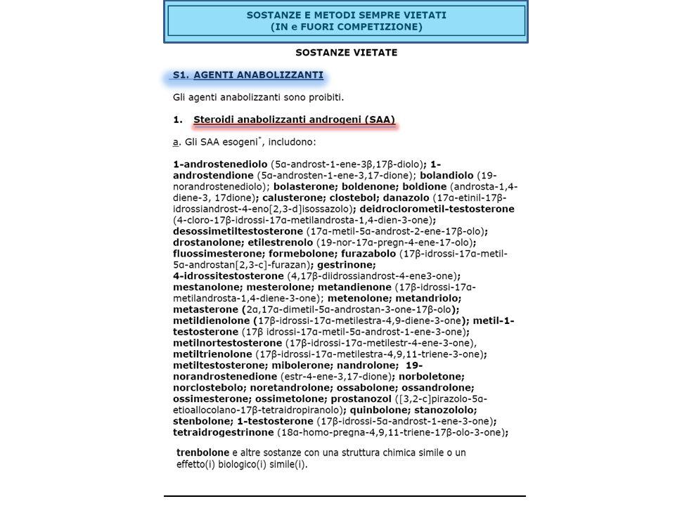 Lidentificazione di qualsiasi sostanza contenuta allinterno della lista precedente oppure di un suo metabolita e di un relativo marker – a qualsiasi contrazione (anche g/ml) – per essere POSITIVI.