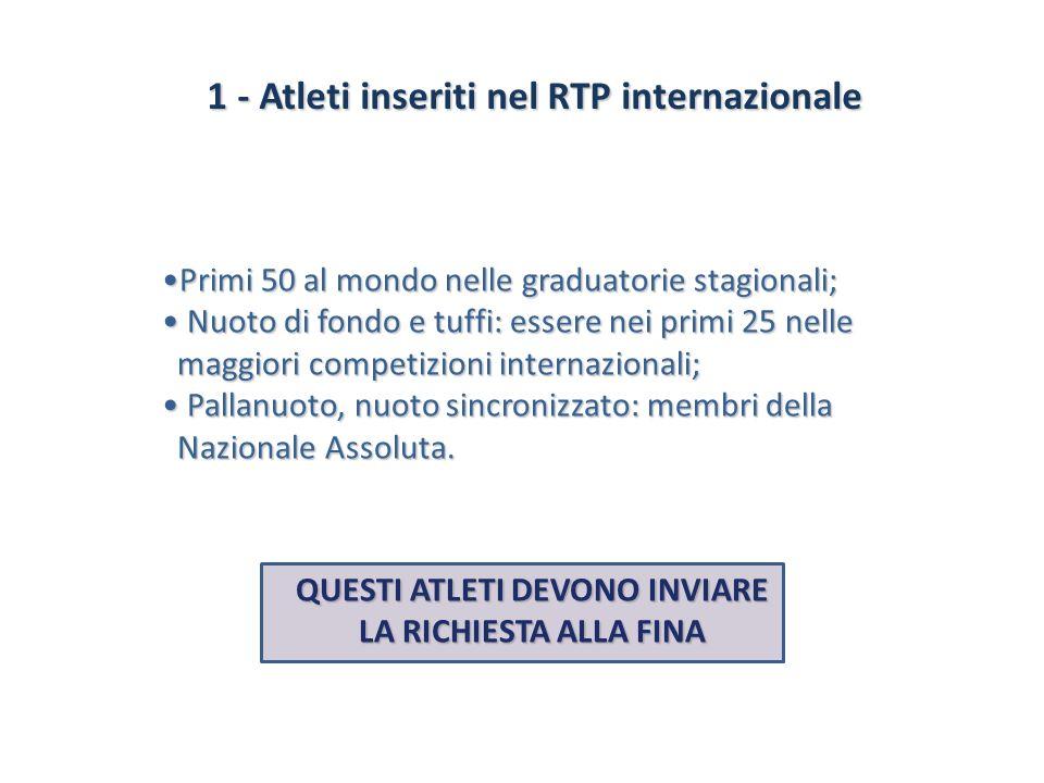 1 - Atleti inseriti nel RTP internazionale 1 - Atleti inseriti nel RTP internazionale Primi 50 al mondo nelle graduatorie stagionali;Primi 50 al mondo
