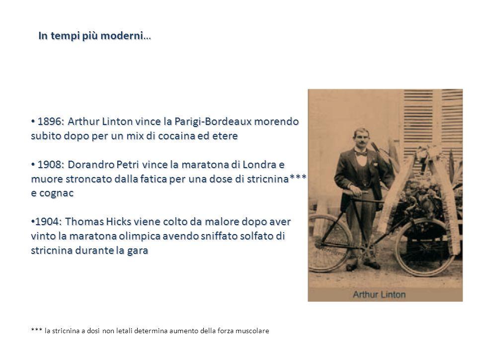 In tempi più moderni… 1896: Arthur Linton vince la Parigi-Bordeaux morendo subito dopo per un mix di cocaina ed etere 1896: Arthur Linton vince la Par