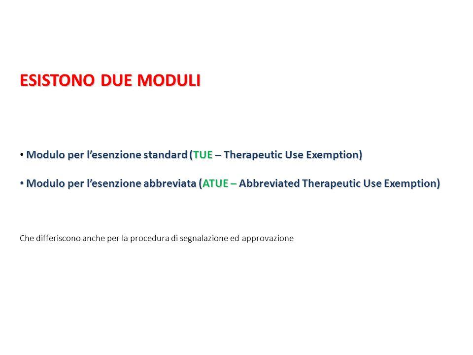 ESISTONO DUE MODULI Modulo per lesenzione standard (TUE – Therapeutic Use Exemption) Modulo per lesenzione abbreviata (ATUE – Abbreviated Therapeutic