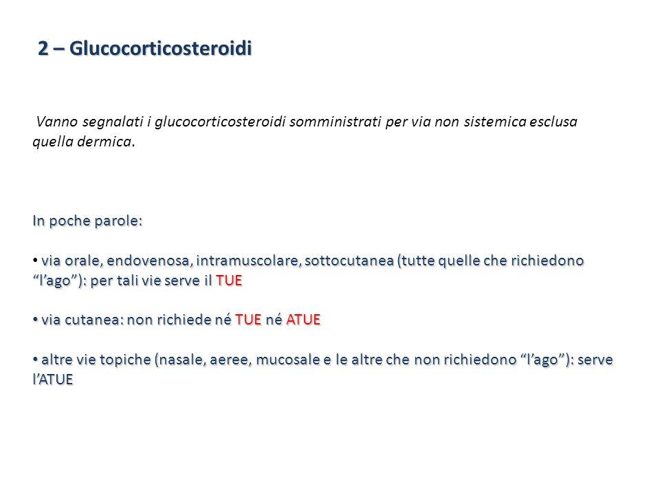 2 – Glucocorticosteroidi Vanno segnalati i glucocorticosteroidi somministrati per via non sistemica esclusa quella dermica. In poche parole: via orale