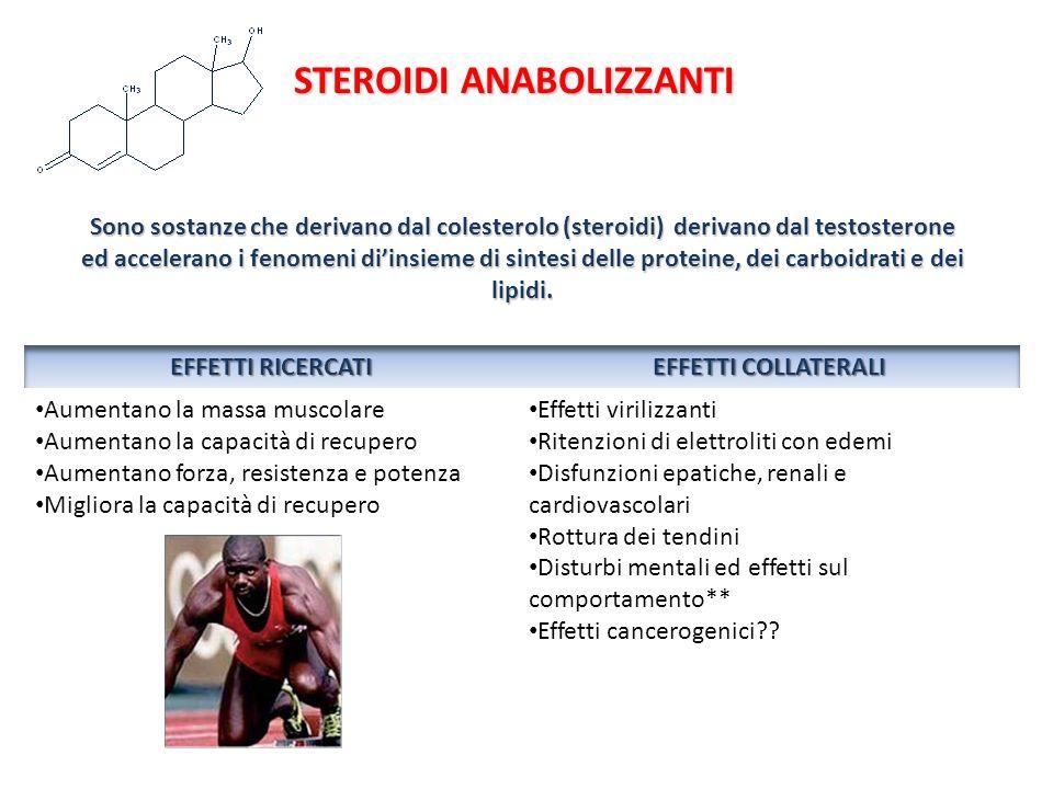 STEROIDI ANABOLIZZANTI Sono sostanze che derivano dal colesterolo (steroidi) derivano dal testosterone ed accelerano i fenomeni diinsieme di sintesi d
