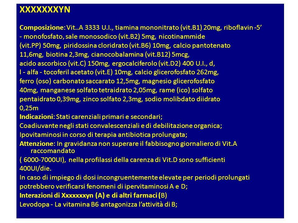 XXXXXXXYN Composizione: Vit..A 3333 U.I., tiamina mononitrato (vit.B1) 20mg, riboflavin -5 - monofosfato, sale monosodico (vit.B2) 5mg, nicotinammide