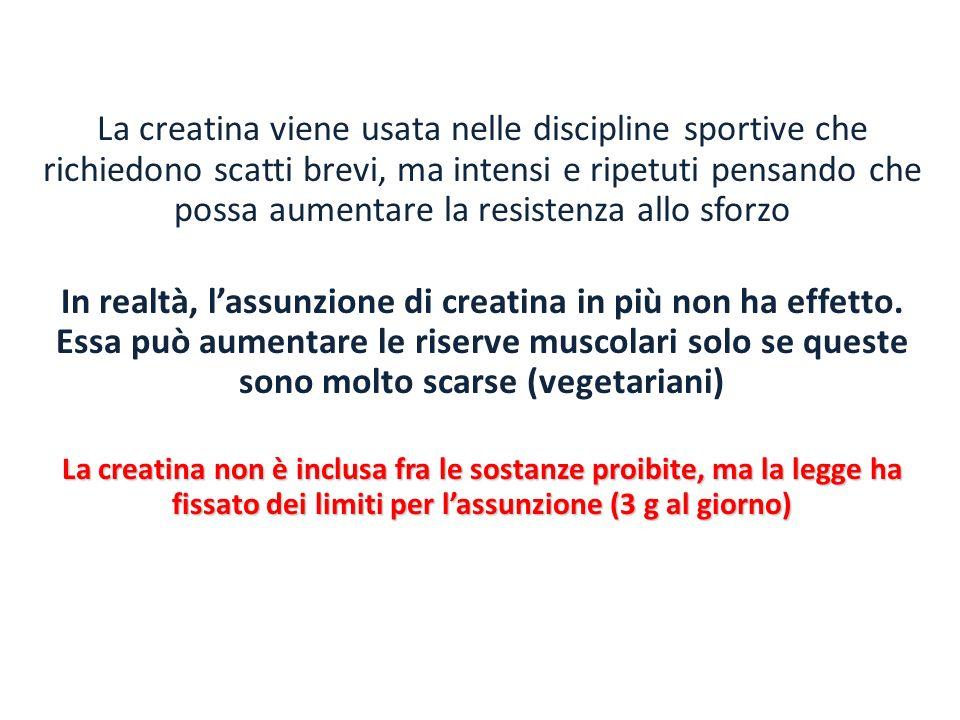 La creatina viene usata nelle discipline sportive che richiedono scatti brevi, ma intensi e ripetuti pensando che possa aumentare la resistenza allo s