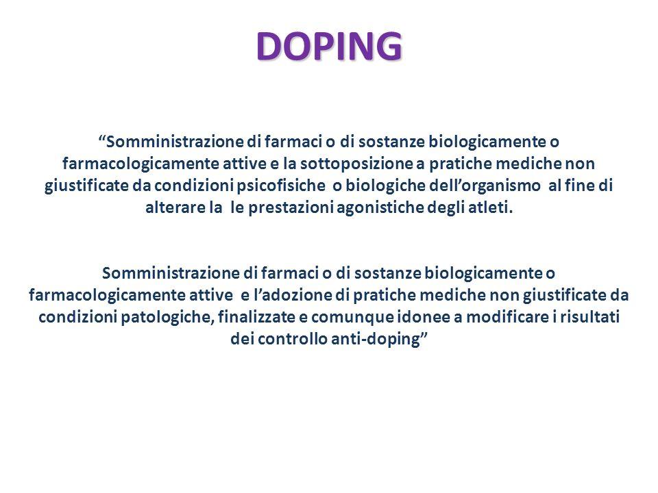 DOPING Somministrazione di farmaci o di sostanze biologicamente o farmacologicamente attive e la sottoposizione a pratiche mediche non giustificate da