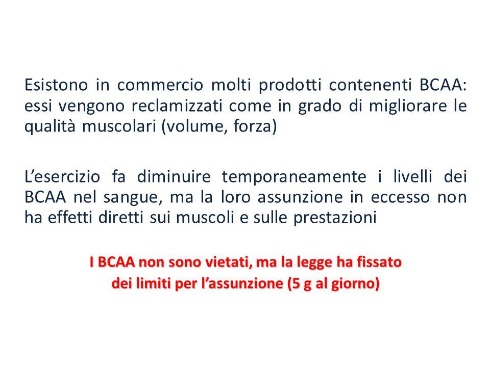 Esistono in commercio molti prodotti contenenti BCAA: essi vengono reclamizzati come in grado di migliorare le qualità muscolari (volume, forza) Leser