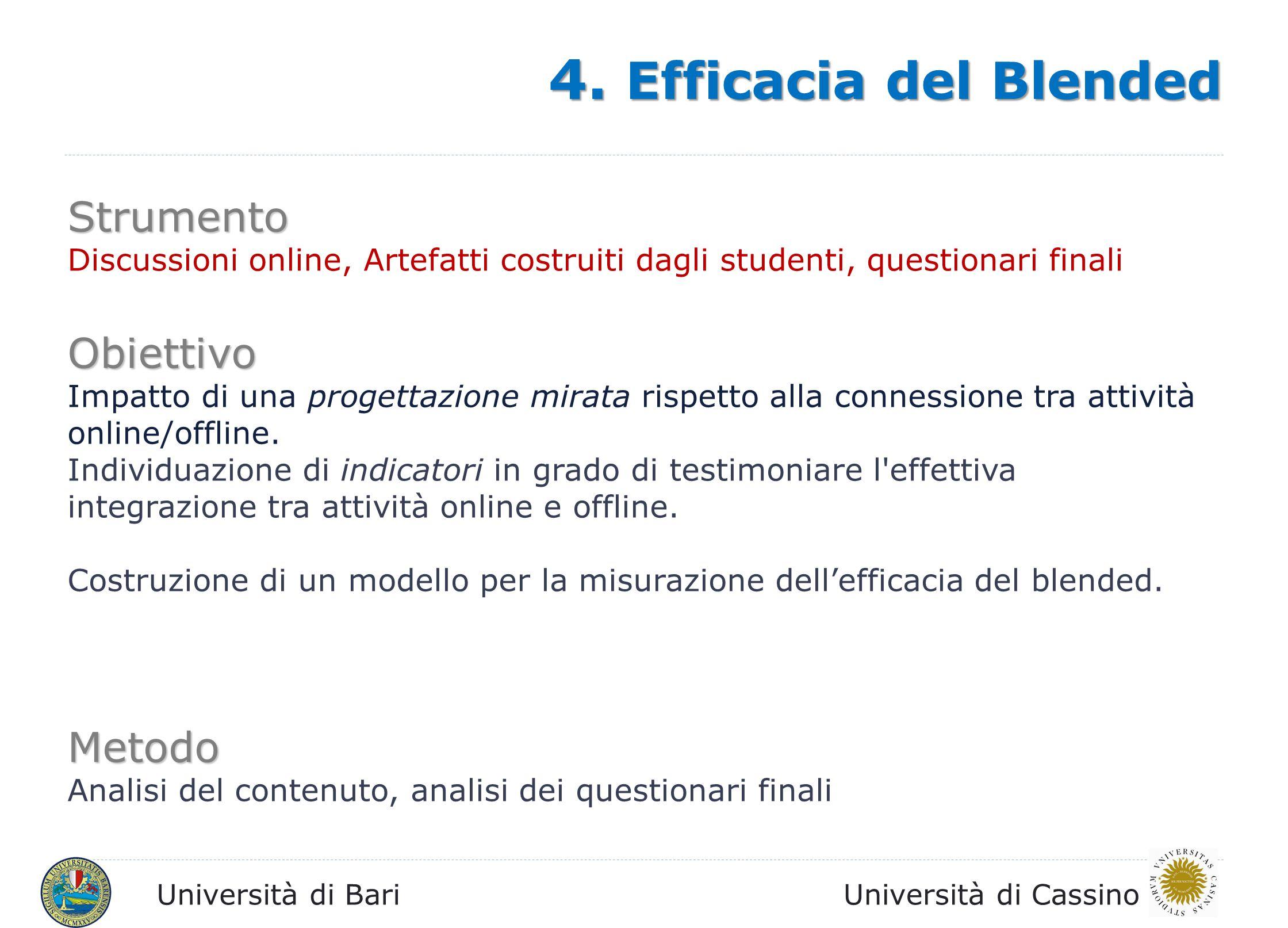 Università di BariUniversità di Cassino Strumento Discussioni online, Artefatti costruiti dagli studenti, questionari finali Obiettivo Impatto di una