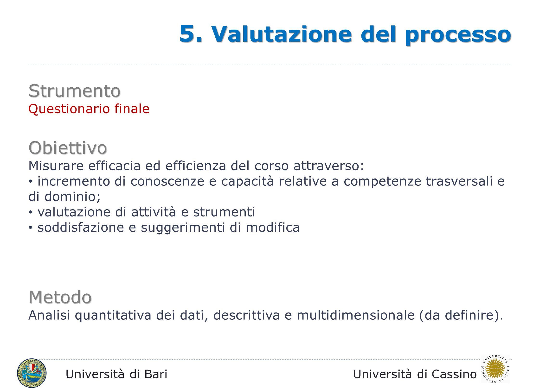 Università di BariUniversità di Cassino Strumento Questionario finale Obiettivo Misurare efficacia ed efficienza del corso attraverso: incremento di c