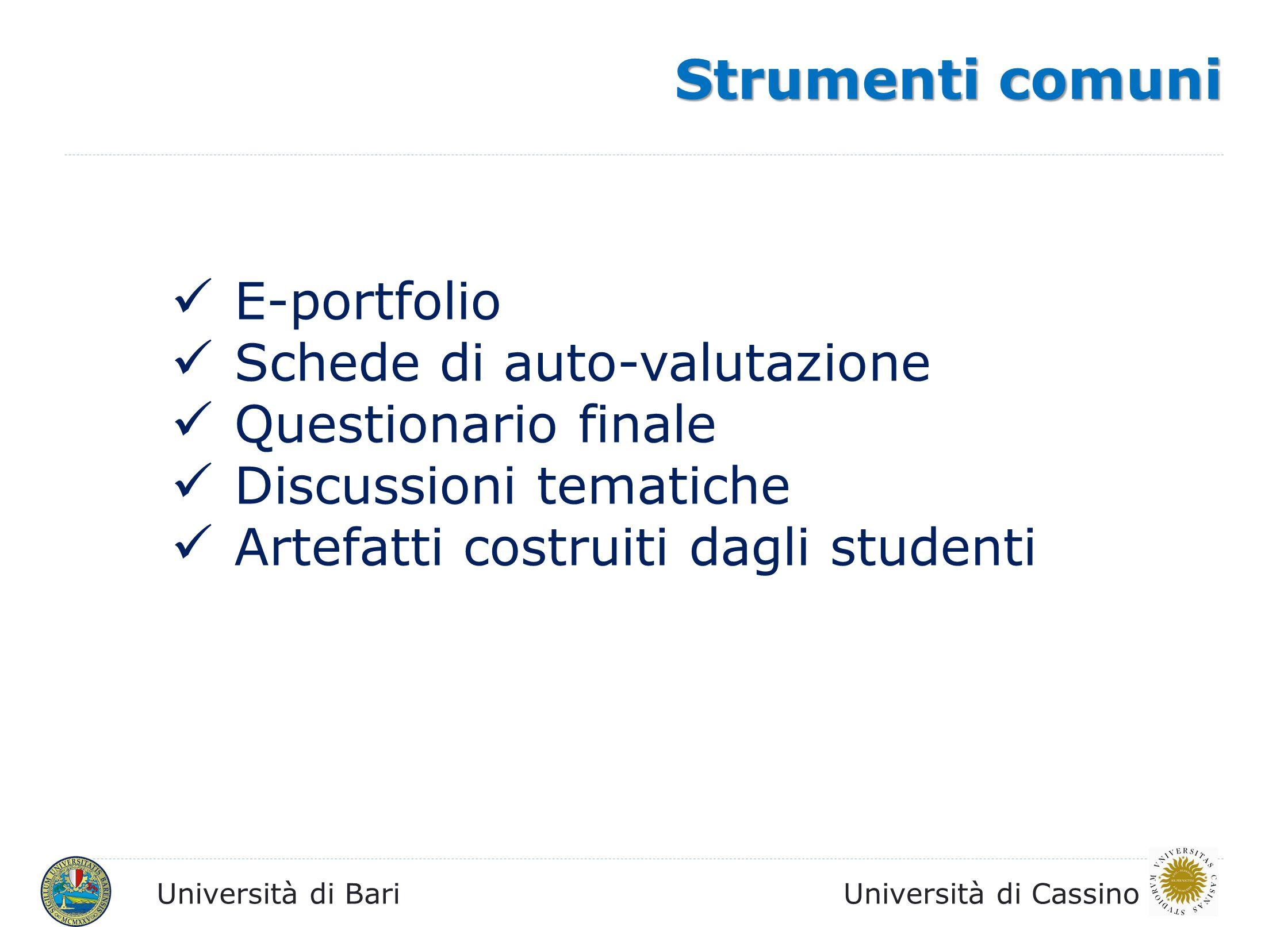 Università di BariUniversità di Cassino Strumenti comuni E-portfolio Schede di auto-valutazione Questionario finale Discussioni tematiche Artefatti co