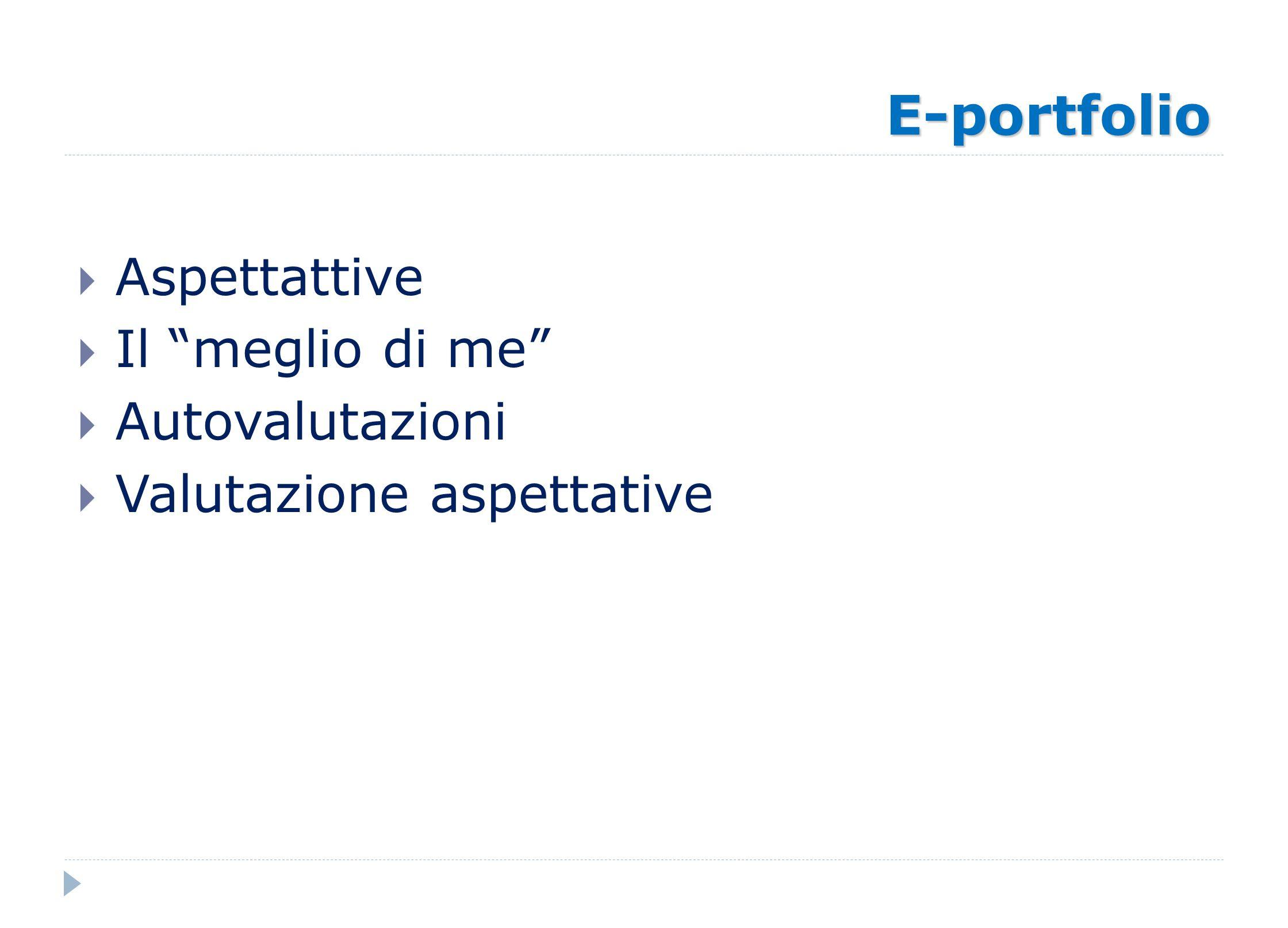 E-portfolio Aspettattive Il meglio di me Autovalutazioni Valutazione aspettative