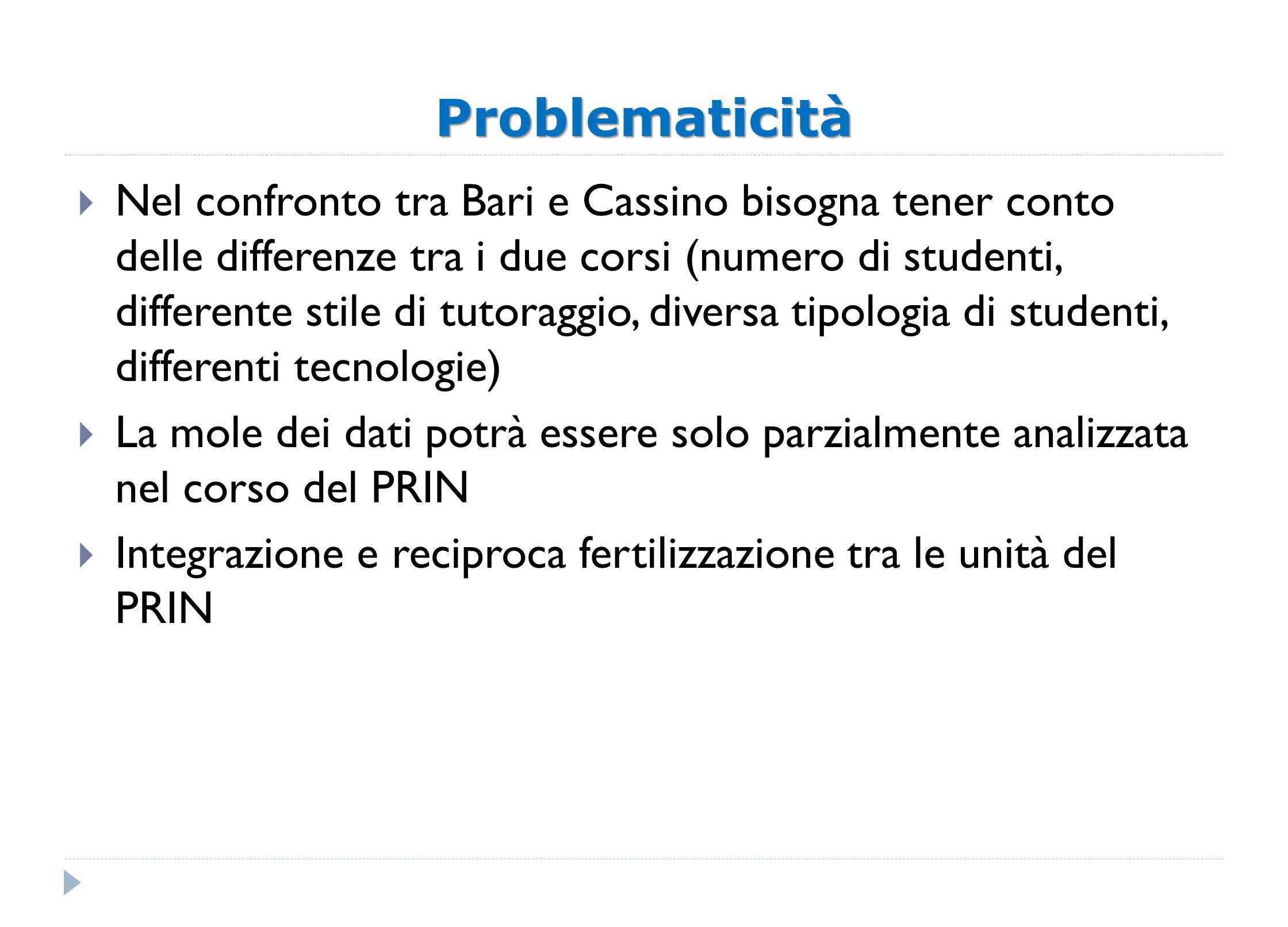 Problematicità Nel confronto tra Bari e Cassino bisogna tener conto delle differenze tra i due corsi (numero di studenti, differente stile di tutoragg