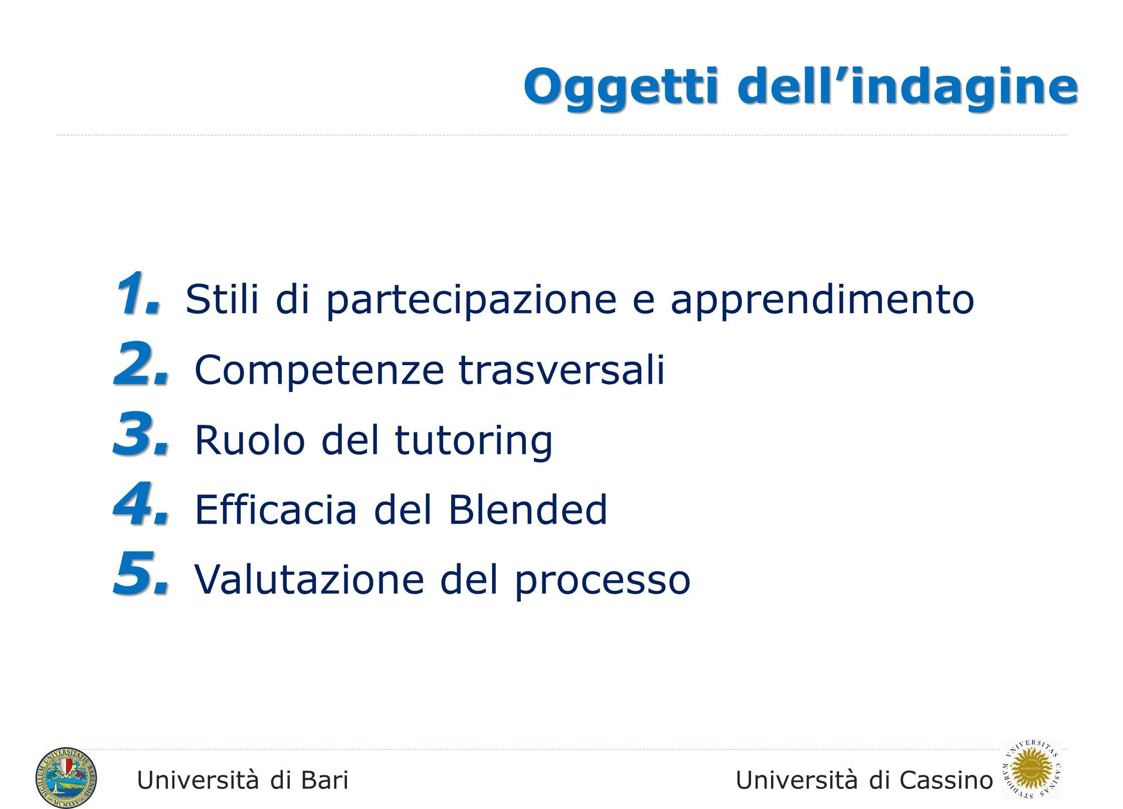 Università di BariUniversità di Cassino Questionario finale