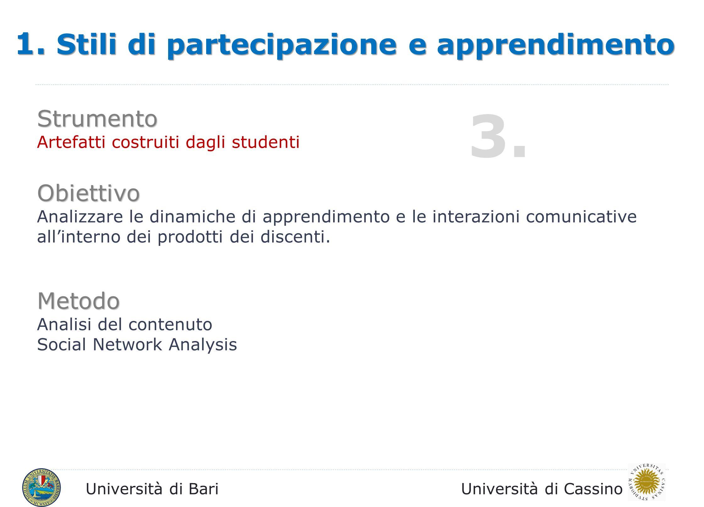 Università di BariUniversità di Cassino 1. Stili di partecipazione e apprendimento Strumento Artefatti costruiti dagli studenti Obiettivo Analizzare l