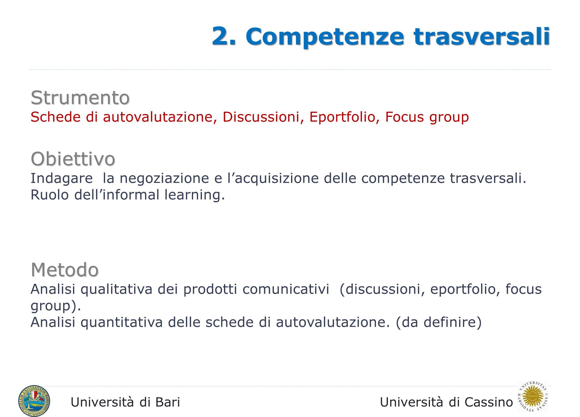 Università di BariUniversità di Cassino 2. Competenze trasversali Strumento Schede di autovalutazione, Discussioni, Eportfolio, Focus group Obiettivo