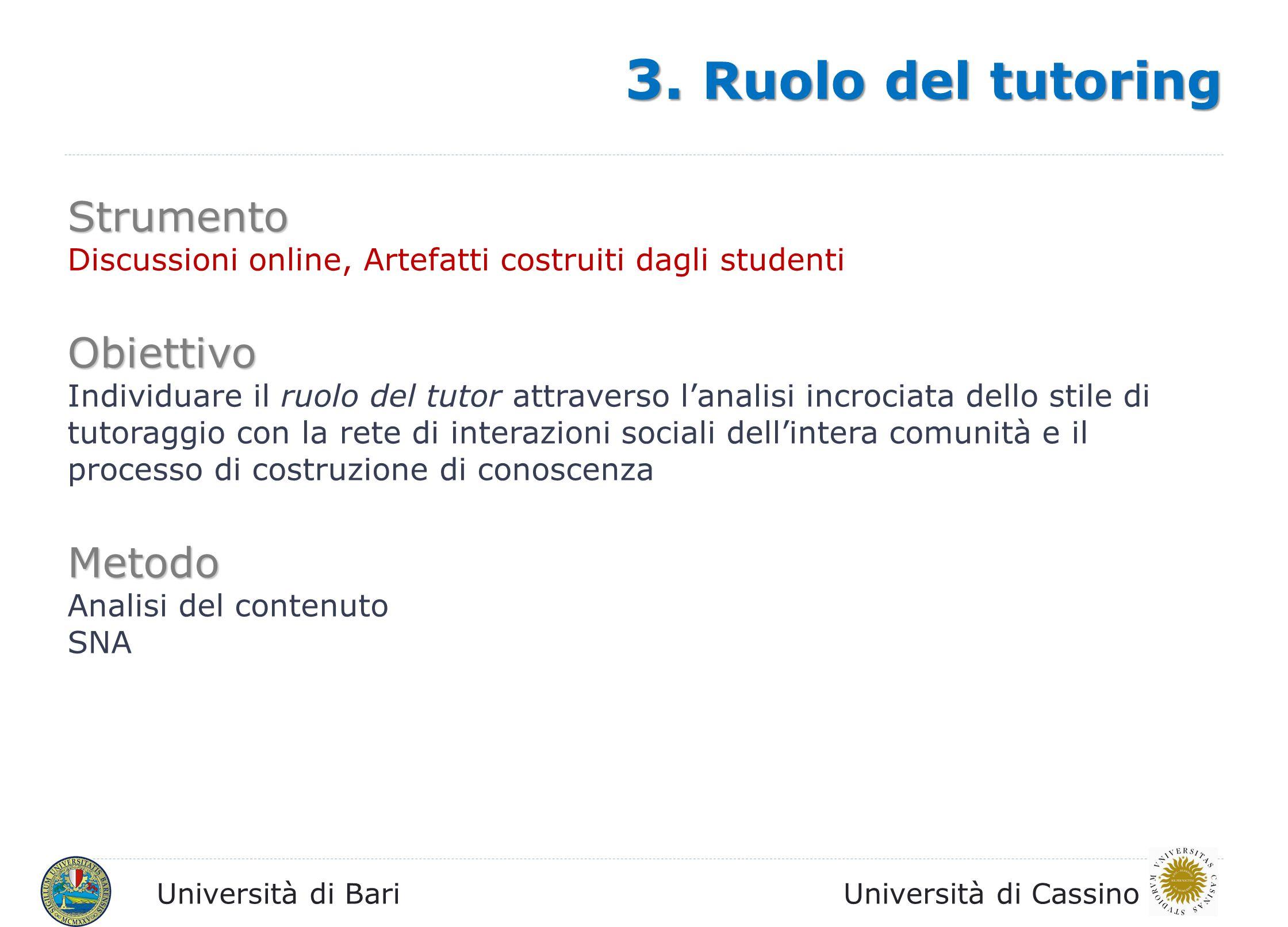 Università di BariUniversità di Cassino Strumento Discussioni online, Artefatti costruiti dagli studenti, questionari finali Obiettivo Impatto di una progettazione mirata rispetto alla connessione tra attività online/offline.