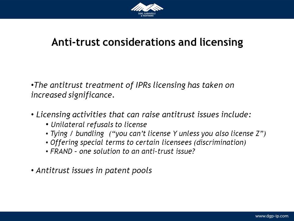 10 NETWORK Relazioni consolidate con agenti locali in più di 150 paesi METODOLOGIA Anti-trust considerations and licensing The antitrust treatment of