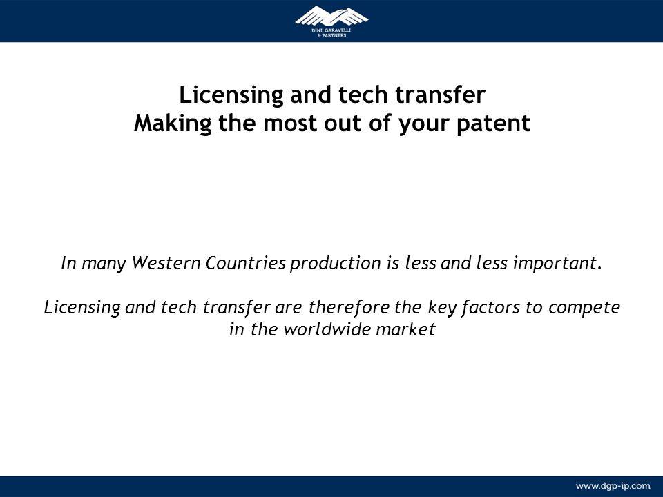 2 NETWORK Relazioni consolidate con agenti locali in più di 150 paesi METODOLOGIA Licensing and tech transfer Making the most out of your patent In ma