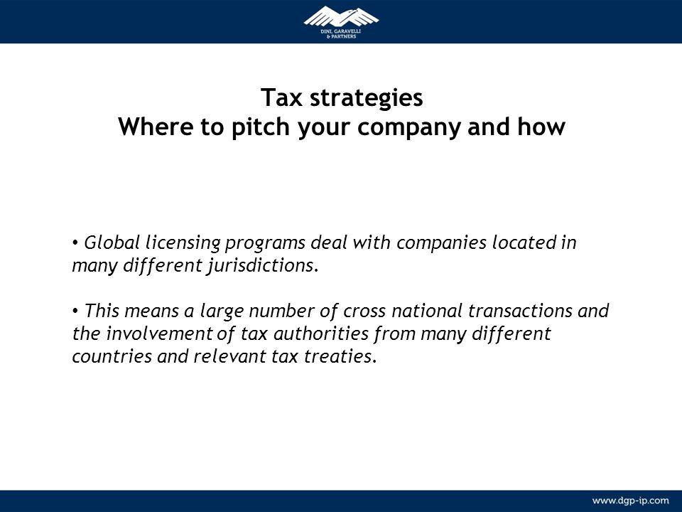 5 NETWORK Relazioni consolidate con agenti locali in più di 150 paesi METODOLOGIA Tax strategies Where to pitch your company and how Global licensing