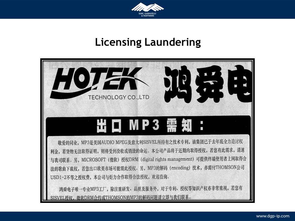8 NETWORK Relazioni consolidate con agenti locali in più di 150 paesi METODOLOGIA Licensing Laundering