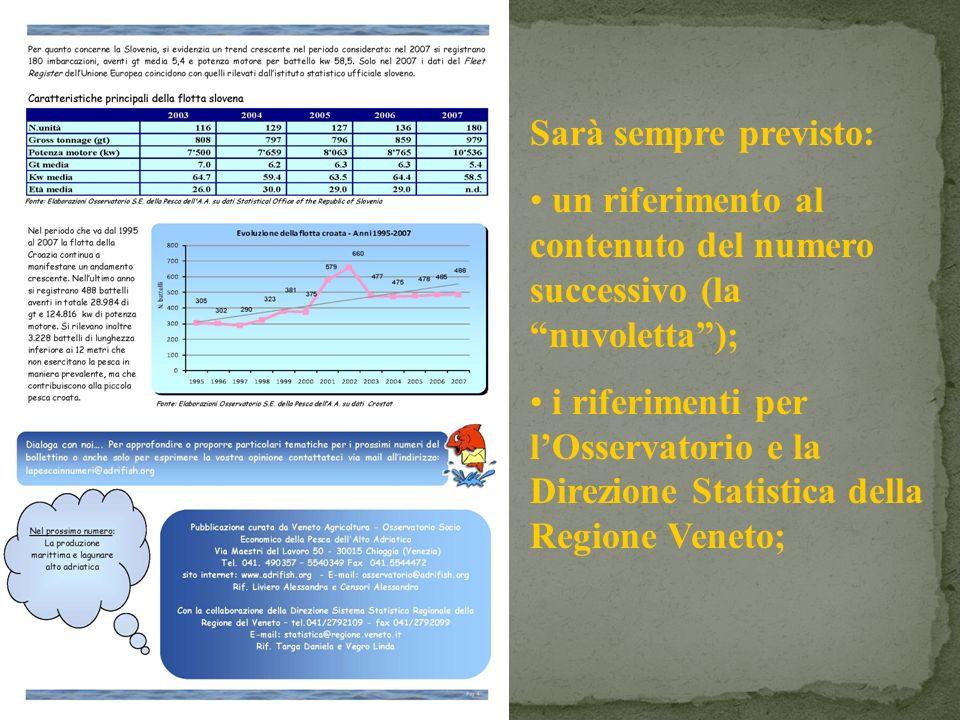 Sarà sempre previsto: un riferimento al contenuto del numero successivo (la nuvoletta); i riferimenti per lOsservatorio e la Direzione Statistica della Regione Veneto;