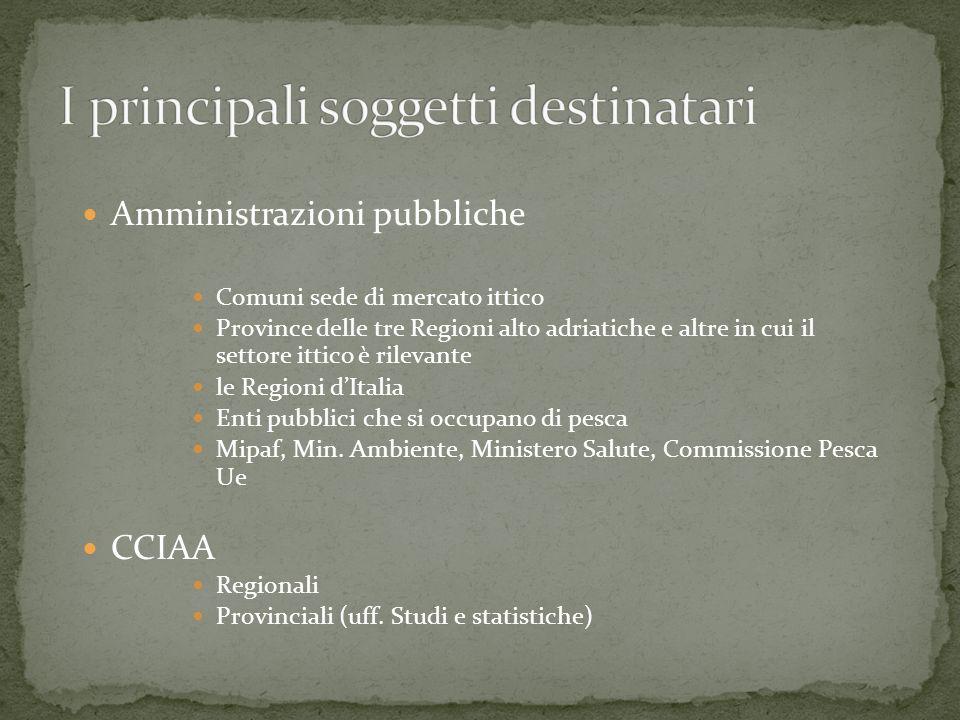Amministrazioni pubbliche Comuni sede di mercato ittico Province delle tre Regioni alto adriatiche e altre in cui il settore ittico è rilevante le Regioni dItalia Enti pubblici che si occupano di pesca Mipaf, Min.