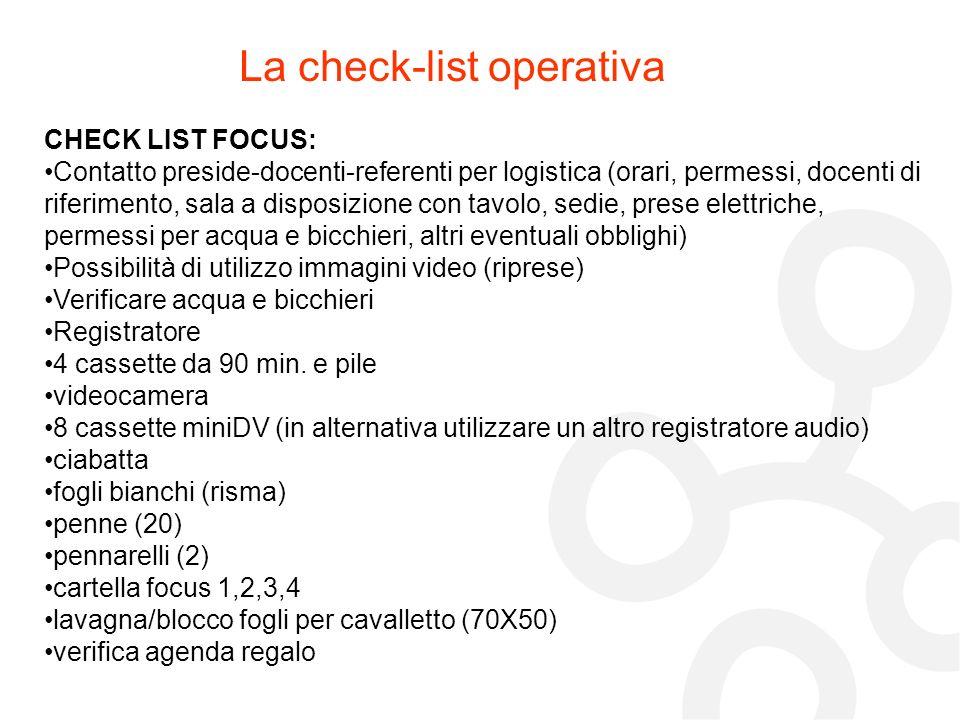 La check-list operativa CHECK LIST FOCUS: Contatto preside-docenti-referenti per logistica (orari, permessi, docenti di riferimento, sala a disposizio
