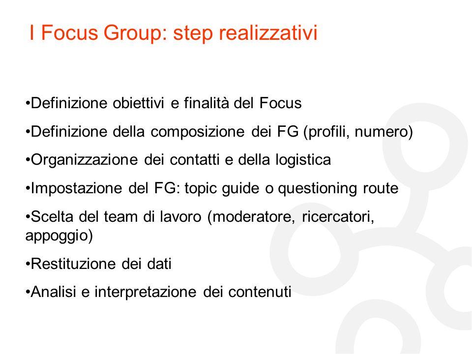 I Focus Group: step realizzativi Definizione obiettivi e finalità del Focus Definizione della composizione dei FG (profili, numero) Organizzazione dei