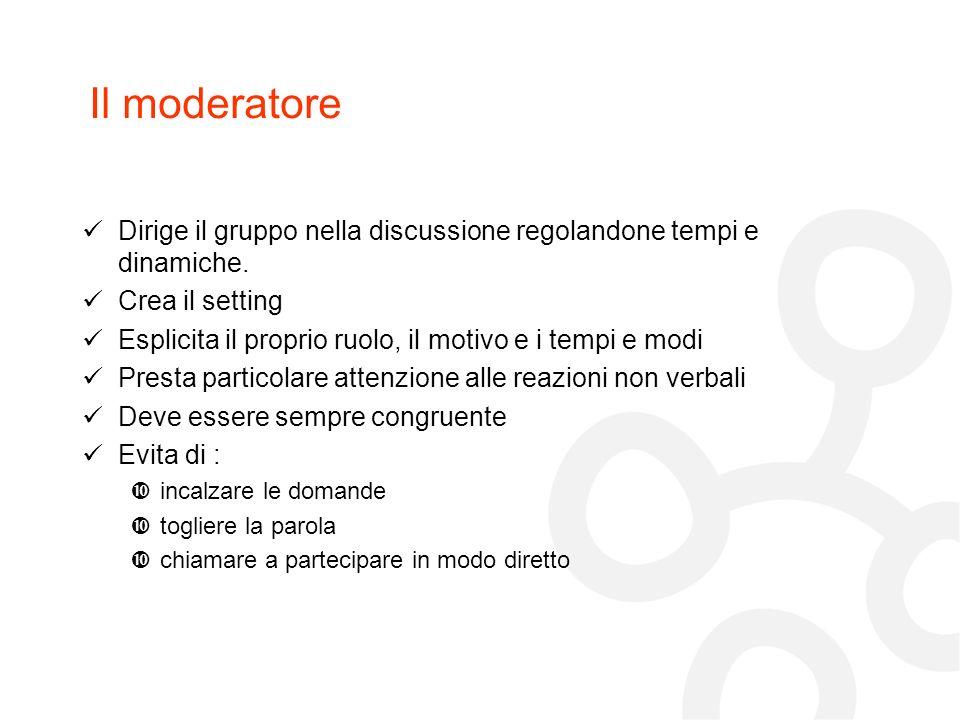 Il moderatore Dirige il gruppo nella discussione regolandone tempi e dinamiche. Crea il setting Esplicita il proprio ruolo, il motivo e i tempi e modi