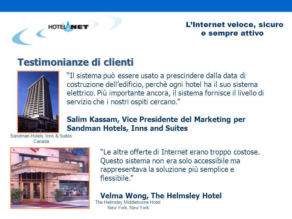 LInternet veloce, sicuro e sempre attivo Testimonianze di clienti Il sistema può essere usato a prescindere dalla data di costruzione delledificio, perchè ogni hotel ha il suo sistema elettrico.