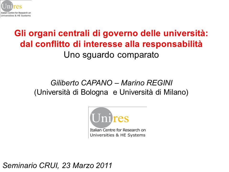 Gli organi centrali di governo delle università: dal conflitto di interesse alla responsabilità Uno sguardo comparato Giliberto CAPANO – Marino REGINI