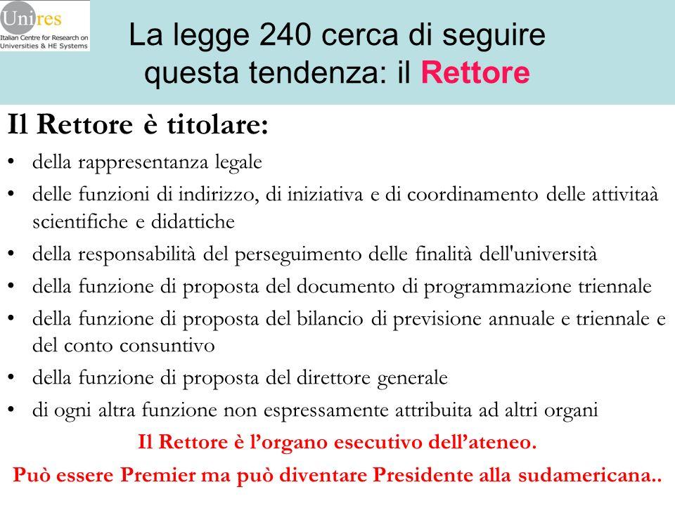 La legge 240 cerca di seguire questa tendenza: il Rettore Il Rettore è titolare: della rappresentanza legale delle funzioni di indirizzo, di iniziativ