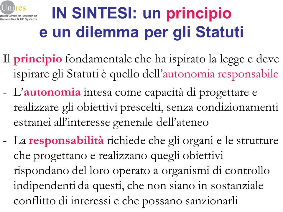 IN SINTESI: un principio e un dilemma per gli Statuti Il principio fondamentale che ha ispirato la legge e deve ispirare gli Statuti è quello dellauto