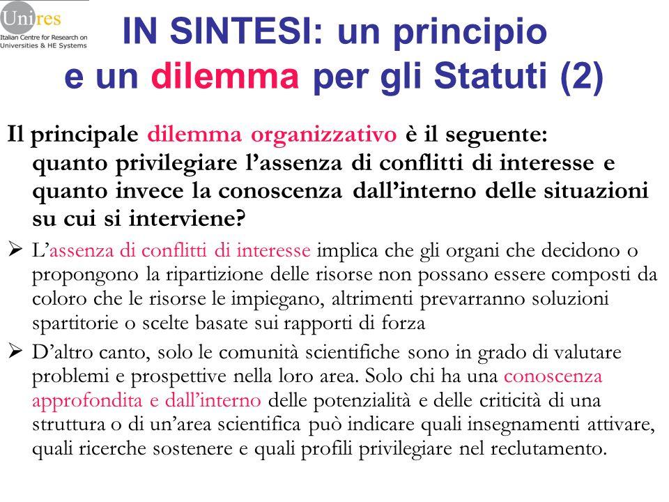 IN SINTESI: un principio e un dilemma per gli Statuti (2) Il principale dilemma organizzativo è il seguente: quanto privilegiare lassenza di conflitti