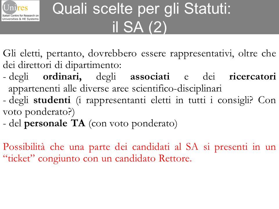 Quali scelte per gli Statuti: il SA (2) Gli eletti, pertanto, dovrebbero essere rappresentativi, oltre che dei direttori di dipartimento: - degli ordi