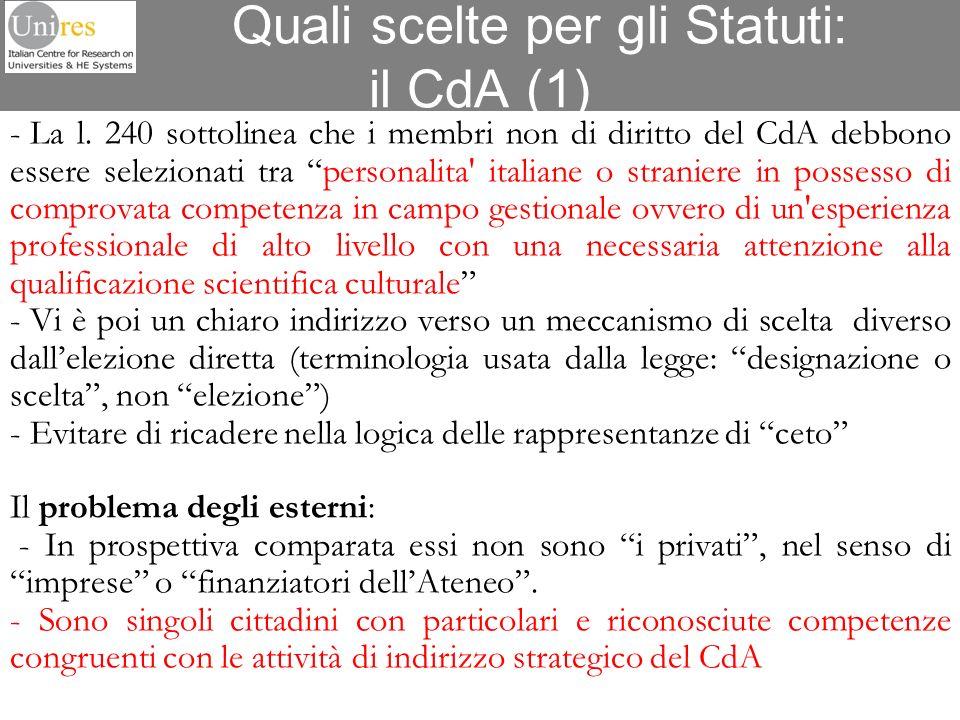 Quali scelte per gli Statuti: il CdA (1) - La l. 240 sottolinea che i membri non di diritto del CdA debbono essere selezionati tra personalita' italia