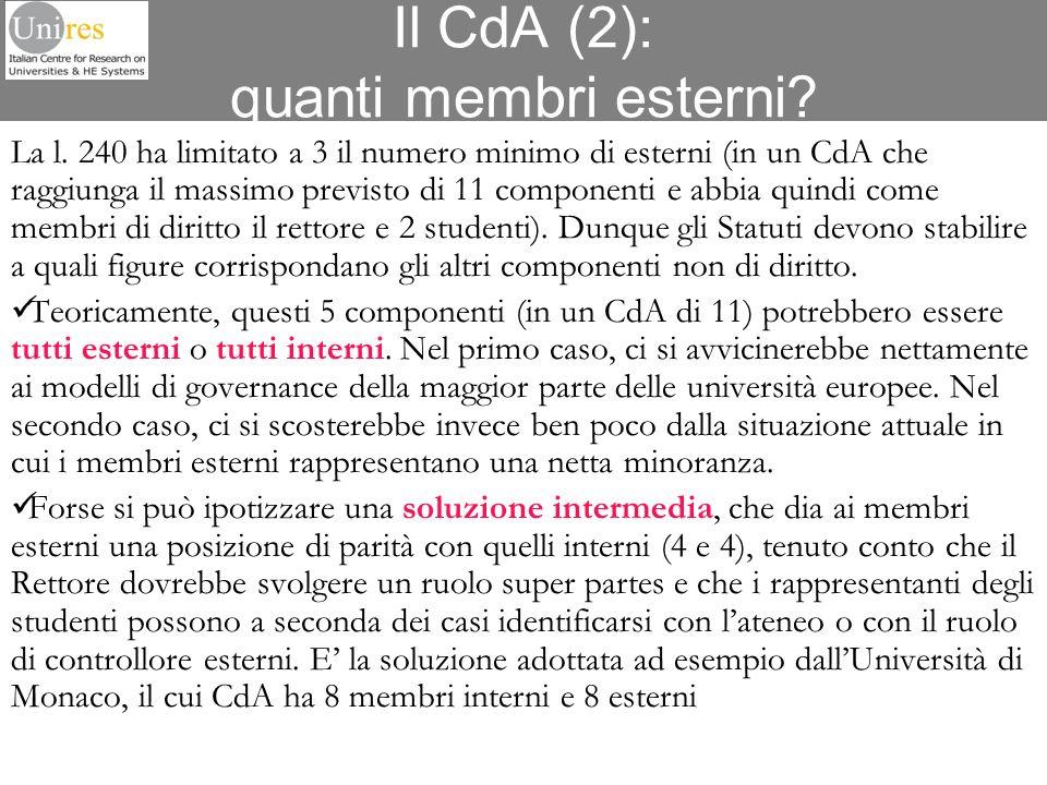 Il CdA (2): quanti membri esterni? La l. 240 ha limitato a 3 il numero minimo di esterni (in un CdA che raggiunga il massimo previsto di 11 componenti