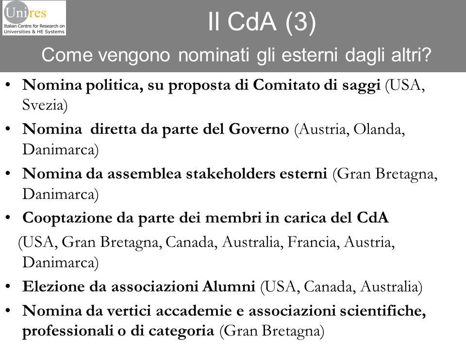 Il CdA (3) Come vengono nominati gli esterni dagli altri? Nomina politica, su proposta di Comitato di saggi (USA, Svezia) Nomina diretta da parte del