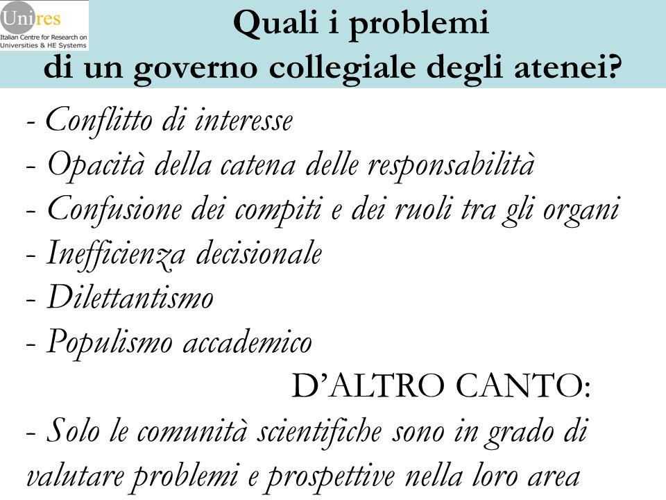 - Conflitto di interesse - Opacità della catena delle responsabilità - Confusione dei compiti e dei ruoli tra gli organi - Inefficienza decisionale -