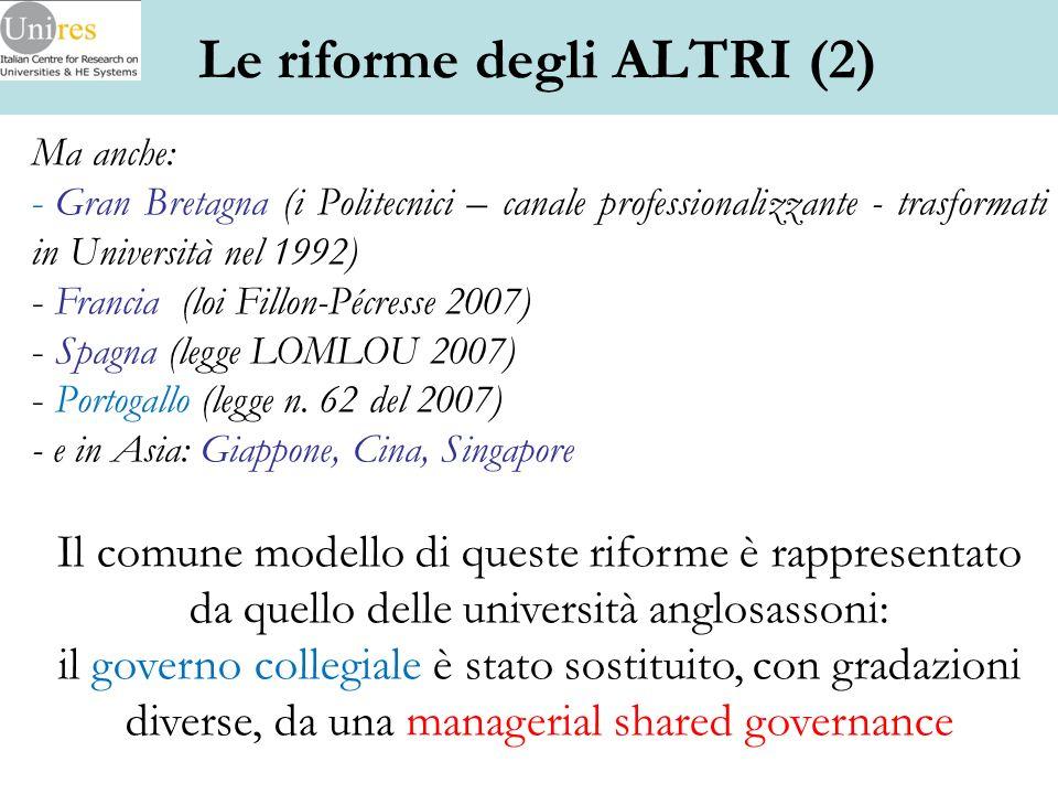Ma anche: - Gran Bretagna (i Politecnici – canale professionalizzante - trasformati in Università nel 1992) - Francia (loi Fillon-Pécresse 2007) - Spa