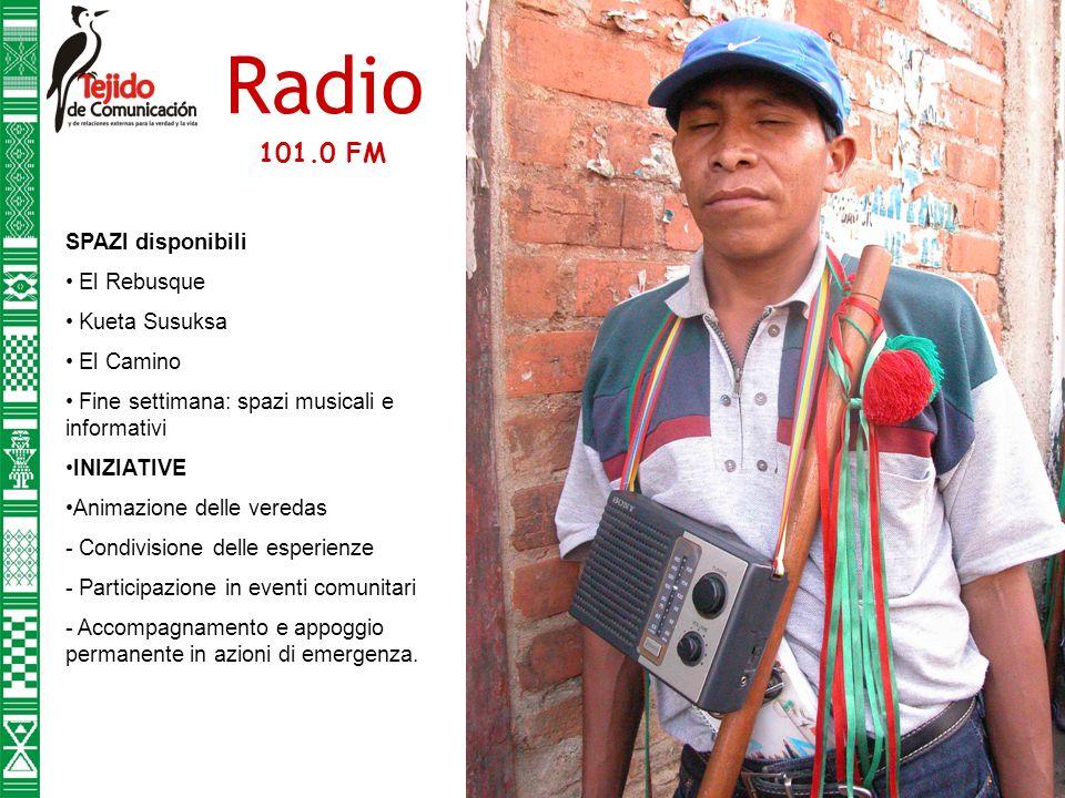 Radio SPAZI disponibili El Rebusque Kueta Susuksa El Camino Fine settimana: spazi musicali e informativi INIZIATIVE Animazione delle veredas - Condivisione delle esperienze - Participazione in eventi comunitari - Accompagnamento e appoggio permanente in azioni di emergenza.