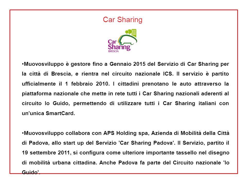 Car Sharing Muovosviluppo è gestore fino a Gennaio 2015 del Servizio di Car Sharing per la città di Brescia, e rientra nel circuito nazionale ICS. Il