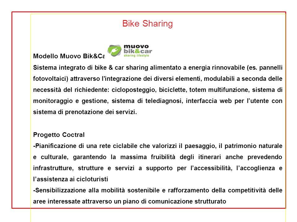Bike Sharing Modello Muovo Bik&Car Sistema integrato di bike & car sharing alimentato a energia rinnovabile (es. pannelli fotovoltaici) attraverso l'i